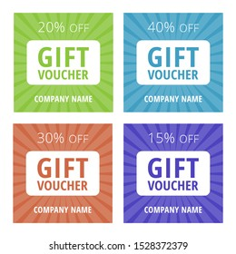 Collection of 4 multicolored gift vouchers with 15, 20, 30, 40% sale. Vector multipurpose green, orange, blue and purple coupon templates. Standard scaled size: 210*99 mm (8,3*3,4 in)