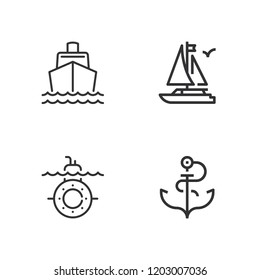 Collection of 4 naval outline icons include icons such as boat, submarine