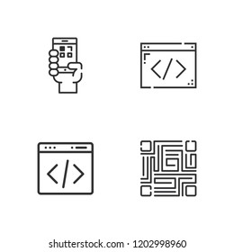 Collection of 4 qrcode outline icons include icons such as coding