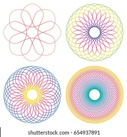 Collection of 4 rainbow colored line spirograph abstract elements - 4 different geometric ornaments flower like, symmetry, isolated on white