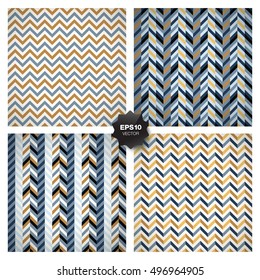 Collection of 4 seamless geometric patterns. Vector set.