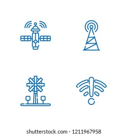 Collection of 4 tower outline icons include icons such as antenna, signal, satellite