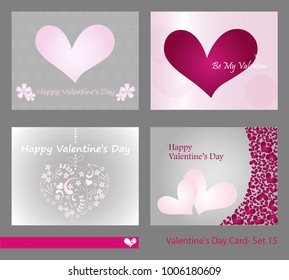 Collection 4 Valentines Day Cards Invites Stock Vector Royalty Free
