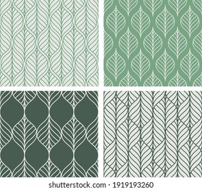 Collection of 4 vector leaf patterns. Textures in pastel green colors