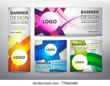 Collection of 4 web banners in colorful wavy lines. Isolated on the light panel. Each item contains space for own logo and text. Vector illustration. Eps10.