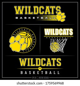 Collection of 4 white and green basketball insignias,  Wildcat Logo, Sports Design, Basketball bundle, Basketball