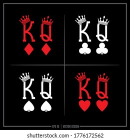 Collection of 4 white and red King and Queen insignias, King of Hearts, Queen of Hearts, King of Diamonds, Queen of Diamonds