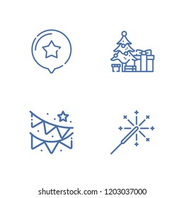 Collection of 4 xmas outline icons include icons such as sparkler, star, christmas tree