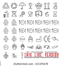 Collection of 45 Packaging Symbols(recycle, handle, instructions, hazard). Thin Line Version.