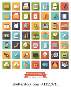 Collection of 49 square flat design long shadow business and office icons