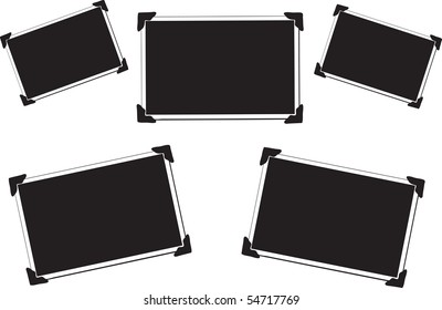 Collection of 5 Blank Vector Pictures with photo corners