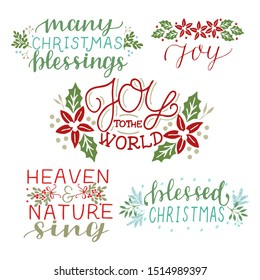 Collection with 5 Holiday cards made hand lettering Many Christmas Blessings. Joy to the world. Heaven and nature singBiblical background. Christian poster. Modern calligraphy Greetings season
