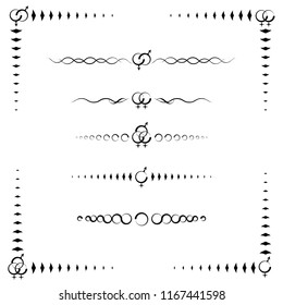 A collection of 5 paragraph dividers and frame to celebrate the resilience of the LGBT community, Gay, Lesbian, Bisexual, Transgender, and Asexual symbols, black & white, vector illustration, eps