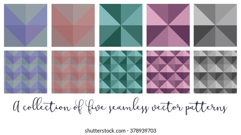 A collection of 5 seamless geometric patterns in different colors