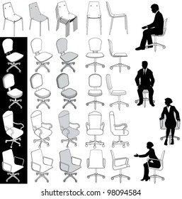 Collection of 5 types of business office chairs for architecture technical and other drawings