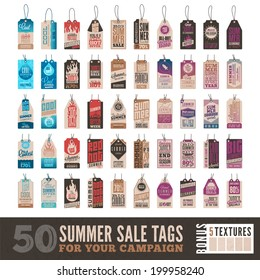 Collection of 50 Clean Summer Sales Related Hang Tags + 5 Bonus Vintage Textures  Included Separately