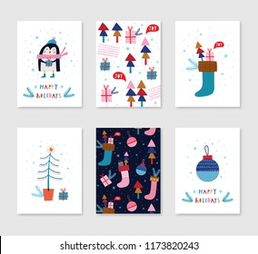 collection 4 minimalistic christmas card templates stock vector