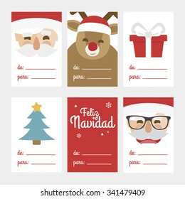 Collection of 6 Christmas card templates. Vector illustration. Template for Greeting Scrapbooking, Congratulations, Invitations. Written in Spanish