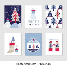 Collection of 6 Christmas card templates. Christmas Posters set. Vector illustration. Template for greeting, congratulations, invitations. Creative Hand Drawn cards for winter holidays.
