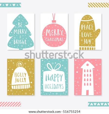Collection 6 Christmas Card Templates Christmas Stock Vector ...