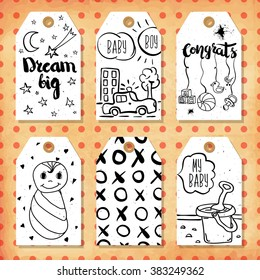 A collection of 6 creative handmade gift tags to set the mood.Congratulations on the birth of a boy and girl, son and daughter. Vector illustration