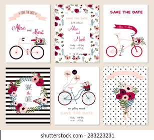 Collection of 6 cute card templates. Wedding, marriage, save the date, baby shower, bridal, birthday, Valentine's day. Stylish simple design. Vector illustration.