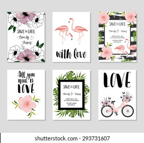 Collection of 6 cute card templates. Wedding, marriage, save the date, baby shower, bridal, birthday, Valentine's day. Stylish simple design. Vector illustration. Poster template.