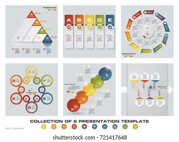 Collection of 6 design colorful presentation templates. EPS10. Set of infographics design vector and business icons. - Shutterstock ID 721417648