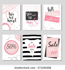 Collection of 6 Discount cards design. Can be used for social media sale website, poster, flyer, email, newsletter, ads, promotional material. Mobile banner template.