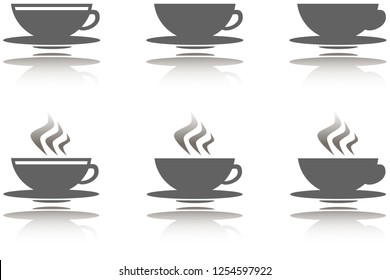 Collection of 6 icon with hot drinks