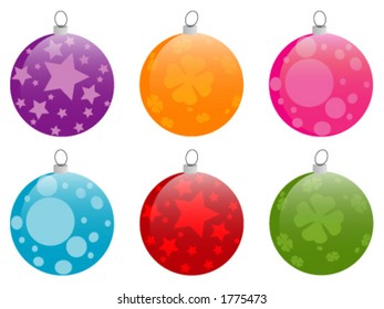 Collection of 6 shiny chrismas baubles, completely adaptable to your own taste and needs.