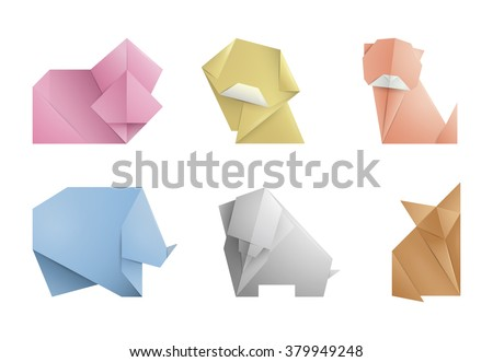 Collection 6 Simple Origami Symbolicons Animals Origami Stock Vector