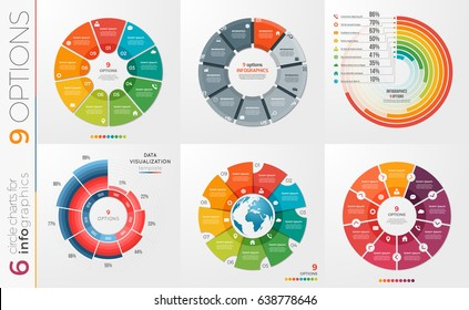 Collection of 6 vector circle chart templates for infographics with 9 options.