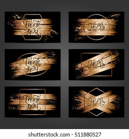 Collection of 6 vintage card templates with copper brushstrokes on black background. For the wedding, marriage, save the date cards, invitations, greetings. Grunge retro design with copper paint.