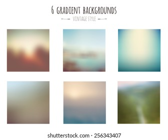 Collection of 6 vintage gradient backgrounds. Vector.