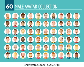 Collection of 60 different male avatars in flat design. Diverse type of people with different nationalities, ages, clothing and hair styles. Round vector icons isolated on white background.