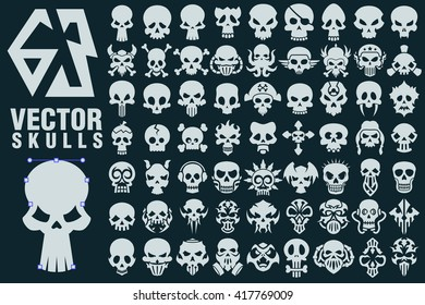 A collection of 63 vector shapes in different styles. Great for halloween, rockers, bikers, danger and warning signs, games, tattoo design.