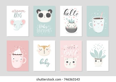 Collection of 8 baby shower posters, vector invites. Cards with cute objects on white background, pastel colors. Wedding, save the date, baby shower, bridal, birthday, Valentine's day. Vector