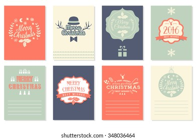 Collection of 8 Christmas cards. Merry Christmas, Happy New Year labels. Vector illustration template for greeting scrapbooking, congratulations, invitations. Design set for winter holidays