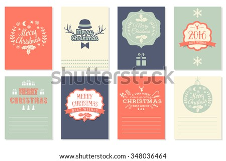 merry christmas happy new year labels vector illustration