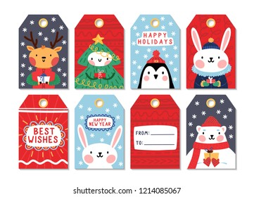 Collection of 8 christmas gift tags with cute winter animals. Vector cartoon style design.