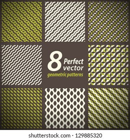 Collection of 8 seamless geometric patterns. Vector set.