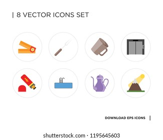 Collection of 8 simple icons such as Mountains, Teapot, Swimming pool, Usb, Elevator, Mug, Fork, Hole puncher, universal set for web and mobile