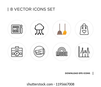 Collection of 8 simple icons such as Line graph, Mode, Loudspeaker, Settings, Shopping bag, Dustpan, Cloud computing, Minibar, universal set for web and mobile