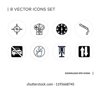 Collection of 8 simple icons such as Two ways, Standard, No water, parking, Crayon, Wall clock, Restaurant, universal set for web and mobile