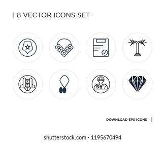 Collection of 8 simple icons such as Jewelry, Pitcher, Locket, Chest guard, Street lamp, Clipboard, Flower necklace, Shield, universal set for web and mobile
