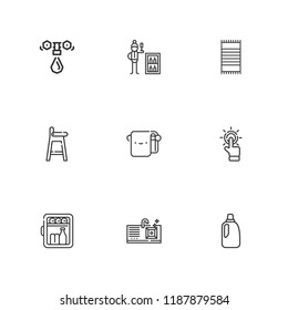 Collection of 9 bath outline icons include icons such as water tap, bath towel, minibar, bleach, tap, baby chair, sink