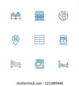 Collection of 9 bed outline icons include icons such as bellboy, minibar, bed, hotel, travel, motel