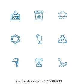Collection of 9 bio outline icons include icons such as ecologist, molecule, recycling, waste, juice, molecules