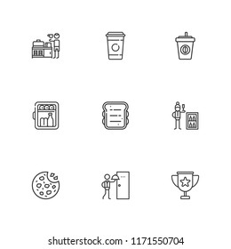 Collection of 9 breakfast outline icons include icons such as coffee, minibar, breakfast, room service, cookies, sandwich, coffee cup